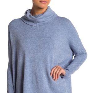 Cyrus NEW Denim Blue Cowl Neck Sweater XLarge